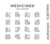 set line icons of medicines... | Shutterstock .eps vector #713873944