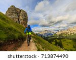 cycling view of cyclist riding... | Shutterstock . vector #713874490
