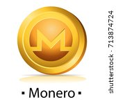 monero. gold coin with... | Shutterstock .eps vector #713874724
