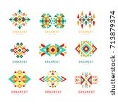 geometric ornament set ... | Shutterstock .eps vector #713879374