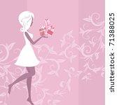 girl silhouette pattern and... | Shutterstock .eps vector #71388025
