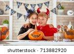 cute little children girls with ... | Shutterstock . vector #713882920