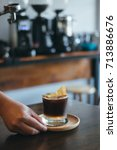 iced espresso on the table.   Shutterstock . vector #713886676