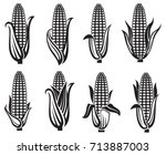 collection of black corn images | Shutterstock .eps vector #713887003