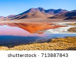 laguna colorada  means red lake ... | Shutterstock . vector #713887843
