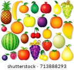 fruits clip art. collection of... | Shutterstock .eps vector #713888293