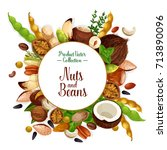 nut  bean and seed food poster. ...   Shutterstock .eps vector #713890096