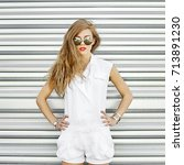 fashion style girl in... | Shutterstock . vector #713891230