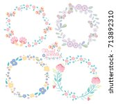 hand drawn vector floral wreath ... | Shutterstock .eps vector #713892310
