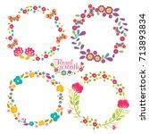 hand drawn vector floral wreath ... | Shutterstock .eps vector #713893834