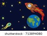 astronomy day poster. rocket... | Shutterstock .eps vector #713894080