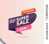 design poster super sale... | Shutterstock .eps vector #713894260