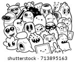 set of funny cute monsters ... | Shutterstock .eps vector #713895163