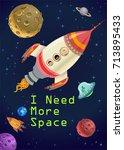astronaut kids in a rocket on... | Shutterstock .eps vector #713895433