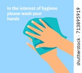 disinfection concept. hands and ... | Shutterstock .eps vector #713895919