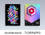 abstract covers design set.... | Shutterstock .eps vector #713896093