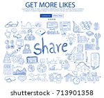 get more likes social media... | Shutterstock .eps vector #713901358