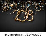 2018 happy new year background... | Shutterstock .eps vector #713903890