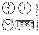 flat line art clock icons set | Shutterstock . vector #713906458