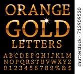 orange alphabet  golden orange... | Shutterstock .eps vector #713909530