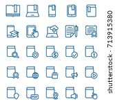 set of book and library icons.... | Shutterstock .eps vector #713915380