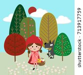 red riding hood in forest | Shutterstock .eps vector #713917759