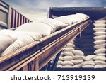 white sugar bags stuffing into... | Shutterstock . vector #713919139