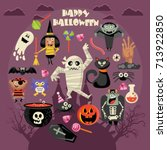 happy halloween vector greeting ... | Shutterstock .eps vector #713922850
