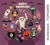 happy halloween vector greeting ... | Shutterstock .eps vector #713922850