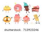 set of funny dessert characters ... | Shutterstock .eps vector #713923246
