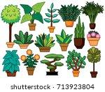 vector set of cartoon plants... | Shutterstock .eps vector #713923804