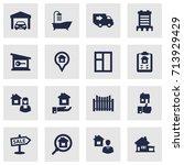 set of 16 estate icons set...   Shutterstock .eps vector #713929429