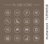 set of 16 animals outline icons ... | Shutterstock .eps vector #713930518