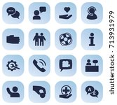 set of 16 support icons set... | Shutterstock .eps vector #713931979
