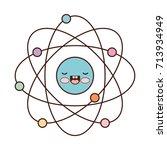 atom cartoon kawaii in colorful ...   Shutterstock .eps vector #713934949