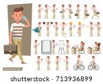 set of office man worker... | Shutterstock .eps vector #713936899
