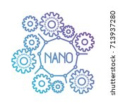 set gear machinery with nano... | Shutterstock .eps vector #713937280