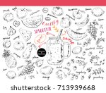 hand drawn sketch fruits ... | Shutterstock .eps vector #713939668