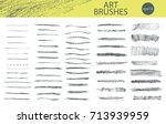 set of vector grungy graphite... | Shutterstock .eps vector #713939959
