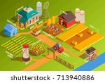 colorful farm isometric... | Shutterstock .eps vector #713940886