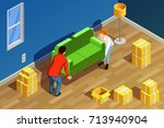 moving people isometric... | Shutterstock .eps vector #713940904