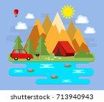 mountainous landscape. tourism. ...   Shutterstock .eps vector #713940943