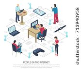 people with electronic devices... | Shutterstock .eps vector #713940958
