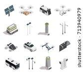 smart city isometric icons...   Shutterstock .eps vector #713940979