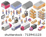 logistics isometric icons set... | Shutterstock .eps vector #713941123