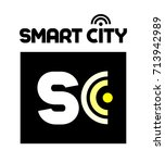 smart city logo with wi fi... | Shutterstock .eps vector #713942989