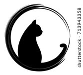 black silhouette of cat. vector ... | Shutterstock .eps vector #713943358