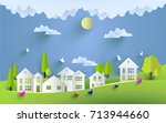 green scenery and beautiful...   Shutterstock .eps vector #713944660