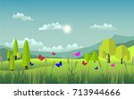 green scenery and beautiful... | Shutterstock .eps vector #713944666