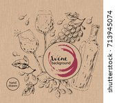 hand drawn wine background. ink ... | Shutterstock .eps vector #713945074
